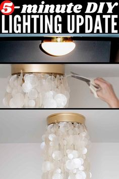 "A 5-min DIY update for standard builder-grade ceiling flush mount lights. Change it from a ""boob"" light to a beachy, beautiful capiz shade. No electrical know-how or power tools needed! #ceilinglightsflushmountdiy #uglyceilinglightmakeover #booblight #booblights #ceilinglightmakeover #flushmountlightmakeover #booblights #ceilingmountlightfixturemakeover #diylightingideas #diylightingprojects #lightinghack #howtoupdateabuildergradeceilinglight #upgradeceilinglight #updateceilinglight…"