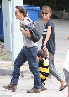 Fun for all the family: Halle Berry and her husbandOlivier Martinez took their adorable son Maceo to a Halloween fair in Los Angeles on Saturday