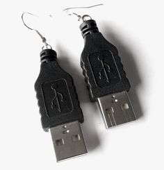 Plug It In Earrings.  RokRokInc. upcycled handmade jewellery and eco design, handcrafted recycling DIY USB earrings.