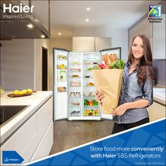 #Haier #SBS #Refrigerators with optimum Fridge-Freezer ratio providing increased capacity makes food…
