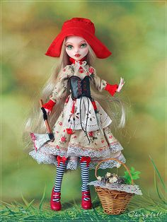 Monster High doll Custom OOAK Little Red Riding Hood repaint Draculaura Monster High Doll Clothes, Custom Monster High Dolls, Monster High Repaint, Custom Dolls, Bratz Doll, Ooak Dolls, Art Dolls, Monster High Ghoulia, Doll Repaint