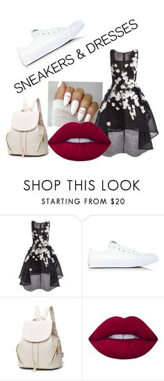"""""""Classy with sneakers"""" by emilymk10 ❤ liked on Polyvore featuring Jovani, Converse and Lime Crime"""