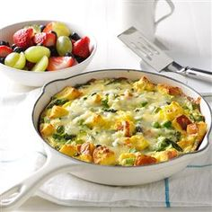 Asparagus & Cheese Frittata Recipe -This rich and creamy frittata begins in the skillet and ends in the oven. We like this melty, cheesy happiness with salad on the side. —Gilda Lester, Millsboro, Delaware