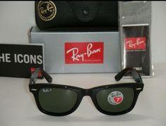 a36890fa411 Ray Ban Original Wayfarer Black   Natural green Polarized RB 2140 901 58  50mm Ray