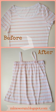 Tutorial: Como convertir una camiseta de adulto en un vestido para niña. Make a Dress with a Shirt