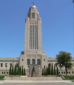 Lincoln, capital of Nebraska. Goodhue-designed Nebraska State Capitol