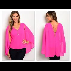 PINK CAPE STYLE TANK TOP W/GOLD CHAIN BACK ACCENT NWOT and made by extarin in a size small fitting 34-36 inches in the chest, medium fits 36-38 or large fits 38-40 inches in the chest.  I just love this top!  It is a fully lined hot pink tank cape style top.  It has a v-neck and v-back with a golden back chain accent.  It is made of 100% polyester. Tops Tank Tops