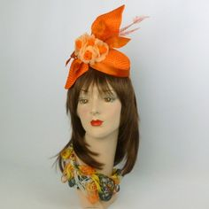 Orange Strawcloth Fascinator Hat with Satin, Flowers, & Feathers  BY SHARON PANOZZO  #millinery #hats #HatAcademy