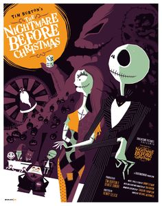Nightmare before christmas in flat design. I love this movie and this illustration. #FLATDESIGN