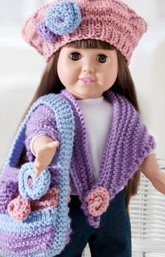 Free doll's clothes knitting patterns for dolls like American Girl! Create clothes with these free knitting patterns suited perfectly to American Girl dolls. Knitting Dolls Clothes, Ag Doll Clothes, Crochet Doll Clothes, Knitted Dolls, Doll Clothes Patterns, Crochet Dolls, Doll Patterns, Clothing Patterns, American Girl Outfits