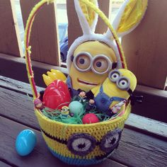 How to make minion easter eggs minion easter eggs easter and minion easter basket for kayleigh i decorated it with all minions despicable me bananas easter eggs eos stuff inside perfect for my four year old negle Gallery