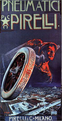Vintage Italian Posters ~ #illustrator #Italian #posters ~ Morino - Pneumatici Pirelli, 1910