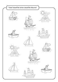 * Geef de boten die hetzelfde zijn... Worksheets For Kids, Printable Worksheets, Activities For Kids, Printables, Preschool, Strand, Drawings, School, Activities