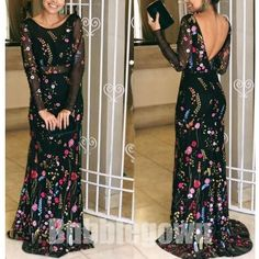 Black Long Sleeves V Back Gorgeous Embroidery Long Evening Prom Dress, BGP047