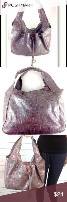 "Gorgeous Smoky Violet Boutique Croco Hobo Bag NWT Brand new with tags! NWT. Such a gorgeous color! Perfect blend of silver and purple. Faux leather, croco embossed. Very roomy - 14 x 9 x 5"".  Zippered top closure. Inside zip & slip pockets. Large front exterior snap closure pocket. Great style!  🔹Ask all questions before you purchase!  🔹No trades or holds, but I happily consider offers via the Offer Button! 🔹Bundle for best prices or ask for a custom bundle! Boutique Bags Hobos"