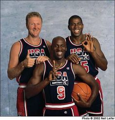 Portrait of Team USA players Larry Bird, Michael Jordan, and Magic Johnson during a Dream Team photo shoot. Sport Basketball, Olympic Basketball, Basketball Tricks, Olympic Team, Basketball Legends, Basketball Players, Pickup Basketball, Basketball Court, Basketball Birthday
