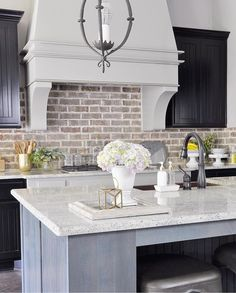 The brick backsplash is perfect for this farmhouse style kitchen! Farmhouse Kitchen Cabinets, Modern Farmhouse Kitchens, Farmhouse Style Kitchen, Home Decor Kitchen, Kitchen Backsplash, Kitchen Interior, Backsplash Ideas, Kitchen Ideas, Kitchen Rustic