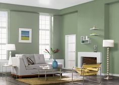 This is the project I created on Behr.com. I used these colors: LAUREL TREE(S390-5),WILLOW GROVE(PPU11-06),WHITEWATER BAY(PPU11-10),HILLSIDE GREEN(PPU11-17),CHOPPED DILL(M380-4),SCALLION(PPU10-01),