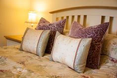 A big comfortable cottage bed in Copper Kettle Cottage at Down Farm in North Devon.