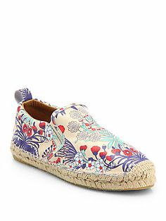 Marc by Marc Jacobs Floral-Print Leather Espadrille Flats