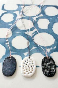handmade porcelain pendant necklace with waxed by mbartstudios