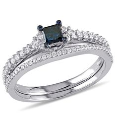 Look forward to a bright future together with this dazzling diamond bridal set. Crafted in cool 10K white gold, the engagement ring features an alluring 1/4 ct. princess-cut enhanced blue diamond center stone flanked by trios of shimmering white diamonds. Additional white diamonds line the ring's shank. On your special day, the slender coordinating white diamond-lined wedding band completes the ensemble. Radiant with 5/8 ct. t.w. of diamonds and a brilliant buffed luster, this b...