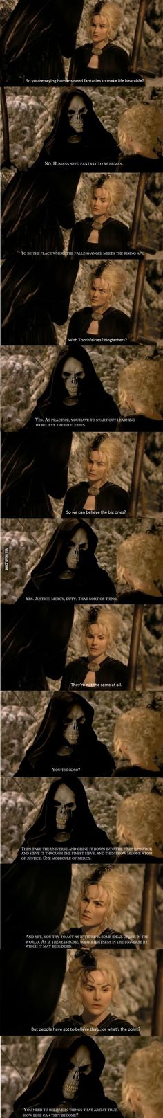 Death, Discworld. One of my favorite speech in movies. It touched something deep in humans.