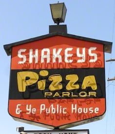 Shakeys Pizza. Window where you could watch them make pizza and a piano player!