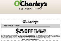photograph about O Charley's Printable Coupons identified as Ocharleys discount codes 5 off / Freebies most important record