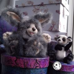 """Sorting through boxes for critters Oh dear Rare Babbit doesn't fit.   #feltvisual  #cute"" Needle felted face and paws"