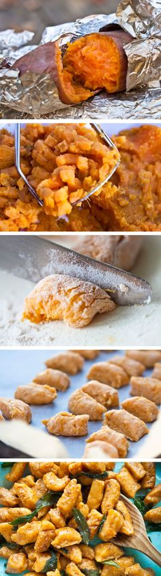 "perfect for gluten-free peeps: Sweet Potato Gnocchi. Cook a sweet potato, remove the skin, mash, slowly add nut flour until you get the right ""pasta"" consistency. (Maybe - 1 c of flour per yam.) Then boil. They're done when they float to the surface. Think Food, I Love Food, Food For Thought, Good Food, Yummy Food, Real Food Recipes, Vegetarian Recipes, Cooking Recipes, Healthy Recipes"