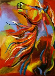 Abstract SW Horse Paintings | Call of the Wild Mustant' Abstract Equine Art Horse Daily Oil Painting ...