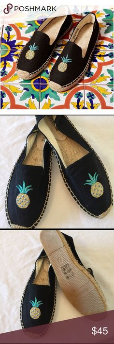 Soludos, 7, pineapple espadrilles, nwob In love with pineapples? Grab these pineapple espadrilles by soludos, nwob, size 7, runs small. no tradesTextile upper Embroidery at vamp Braided midsole Man-made sole Soludos Shoes Espadrilles
