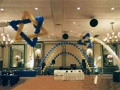 Shooting Stars Of David For A Bar Mitzvah Party Also Other Balloon Decorations