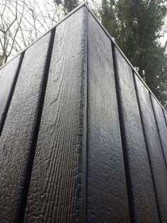 Shou-sugi-ban : black wood : burnt wood : wood art : www. Cladding Design, House Cladding, Timber Cladding, Facade Design, Wood Architecture, Architecture Details, Recycled House, External Cladding, Charred Wood