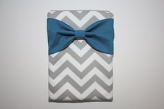 MacBook Pro or Air, Laptop Case / Sleeve - Gray Chevron Stripes with Teal Bow - Double Padded. $65.00, via Etsy.