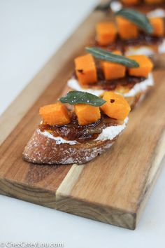 Butternut Squash Crostini with Ricotta, Cider Caramelized Onions, and Fried Sage | ChezCateyLou.com
