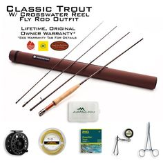 This is a custom outfit from AvidMax Outfitters that includes a Redington Classic Trout Fly Rod, Redington Crosswater Fly Reel, Scientific Anglers Supra Floatin
