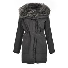 Grey Faux Fur Parka