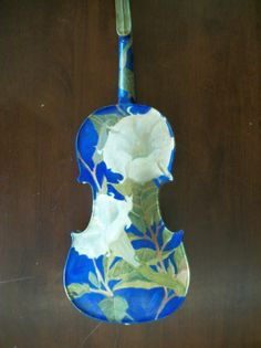 Hand Painted Unique Violin Jimson Weed Moon Flower by Margaret Aycock | eBay