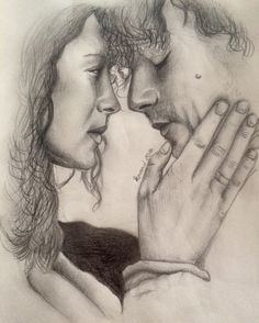 The happiest of birthdays to @iwanttodriveyouthroughthenight I heart you big time, girlie. I hope you have all the cake and cuddles you desire, and I hope you get your drawing soon. Mwah. 2-D pencil sketch Jamie and Claire send all their love to you, you're a stunner.