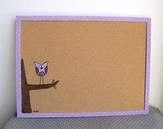 Cork Board- purple owl - Children lavender hand painted message board, Bulletin Board, memo board, graduation gift on Etsy, $16.50