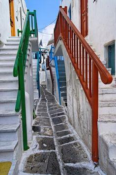 A colorful narrow alleyway in Chora #Mykonos #Greece