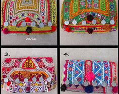 Handmade Vintage Fabric Banjara Indian Clutches, Handpicked top quality bags, ethnic with pom poms, coin charms, beadwork!!