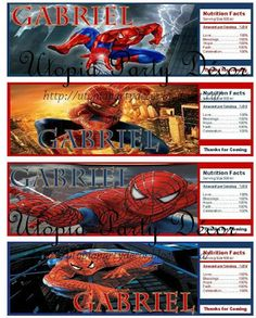 Spiderman Water Bottle Labels Template