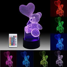 3D Teddy Bear Night Lights – Blinbling Remote Nightlight for Kids with 7 Main Colors (16 colors), 4 Flashing Modes, 4 Levels of Brightness, Help Kids Feel Safe at Night, Best Gift Idea for Girls