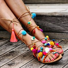 'Penny Lane is in my ears and in my heaaaart ' (And in your hearts)❤ #sandals #handmade #pennylane #elinalinardaki #ethnic #bohemian #bohochic #summer #pompom #tassels #tan #semipreciousstones  #corals #fun #ifeeljustlikeachild #playful
