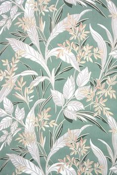 leafy botanical vintage wallpaper from the Antique wallpaper from Hannah's Treasures vintage wallpaper collection. Collecting old stock authentic wallpaper for 25 years 60s Wallpaper, Antique Wallpaper, Graphic Wallpaper, Fabric Wallpaper, Pattern Wallpaper, Vintage Prints, Vintage Art, Botanical Prints, Floral Prints