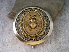 Victorian Bronze Bee Steampunk Compact Mirror by OneFortyFive, $38.50