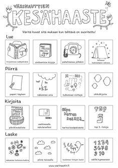 Kesä - Värinautit Word Search, Indigo, Kindergarten, Language, Bullet Journal, Classroom, Words, Pictures, Class Room